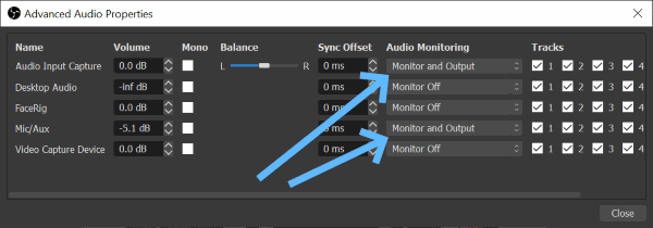 OBS Audio Channel Monitor Settings